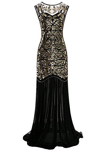 Metme Frauen der 1920er Jahre Perlen Pailletten Vintage Classic lange Flapper Gatsby Prom Kleid Vintage-kleid Der 1920er Jahre