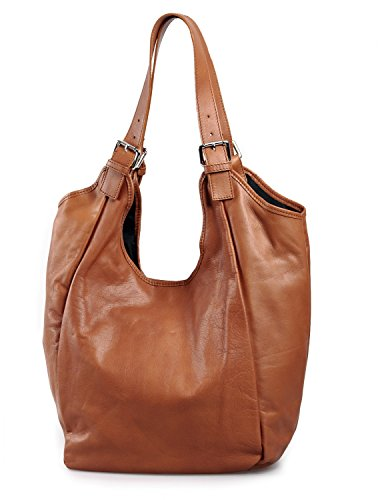 IO.IO.MIO echt Leder Tasche Shopper Beuteltasche Handtasche oder Schultertasche für Damen Frauen Handtaschen Taschen groß Cognac