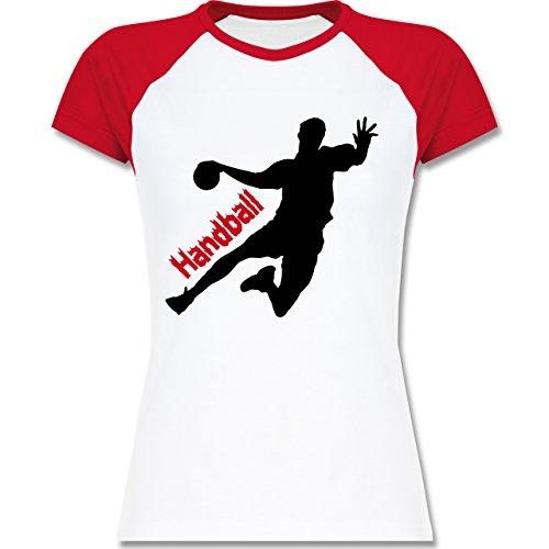 Handball - Handball - zweifarbiges Baseballshirt / Raglan T-Shirt für Damen Weiß/Rot