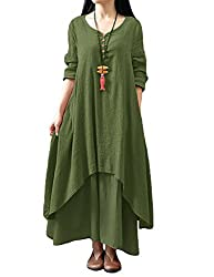 Romacci Damen Beiläufige Lose Kleid Fest Langarm Boho Lang Maxi Kleid S-5XL Schwarz/Weiß/Rot/Gelb, Grünes, XXL