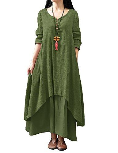 Romacci Damen Beiläufige Lose Kleid Fest Langarm Boho Lang Maxi Kleid S-5XL Schwarz/Weiß/Rot/Gelb (XL, Grünes) (Maxi Kleid Casual)