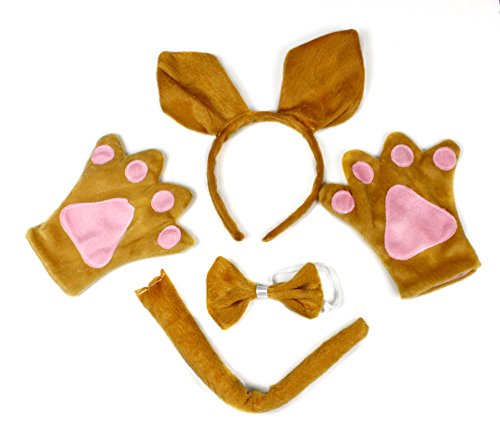 Kangaroo Headband Bowtie Tail Gloves 4pc Costume for Child Birthday Party ()
