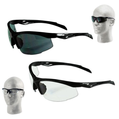 Italian Design Wrap-Around ANSI Z87.1 Safety Bifocal / Reading Glasses - 1.00 to 3.00 - Smoke or Clear by AP
