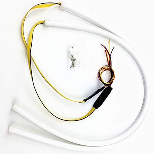 Preisvergleich Produktbild 2 Stücke 24 Zoll Tagfahrlicht,  Flexible Dual Farbe Weiß Sequenz Bernstein LED Streifen Lichter DRL Switchback Scheinwerfer & Blinker Tube Fit für 12V