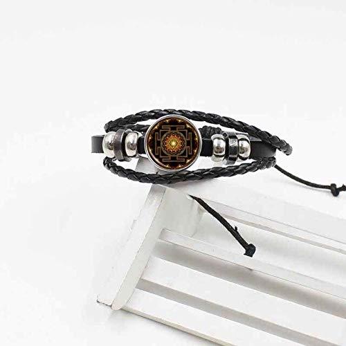 NJIANGHUA Herren Lederarmband Glas Armband Buddhismus Heilige Geometrie Sri Lanka Armband Geflochtenes Leder Damen Herren Accessoires