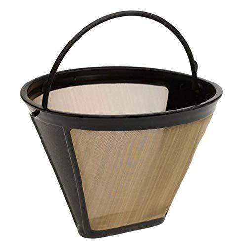Casavidas Mehrweg-Kaffeefilter, für 10-12 Tassen, Permanentkegelform, Kaffeemaschine, Filter, Goldgeflecht mit Griff (Generic Kaffee-filter)