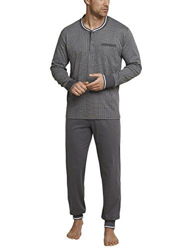 Schiesser Herren Zweiteiliger Schlafanzug Anzug Lang m. Knopfleiste, Grau (Dunkelgrau 205), X-Large (Herstellergröße: 054)