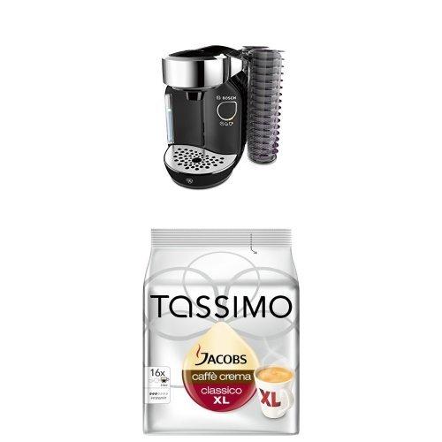 Bosch TAS7002 Tassimo Caddy Multi-Getränke-Automat mit Tassimo Jacobs Caffè Crema classico XL, 5er...