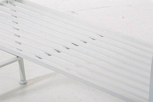 Gartenbank Adelaide, Metallbank 108cm ~ weiß - 7