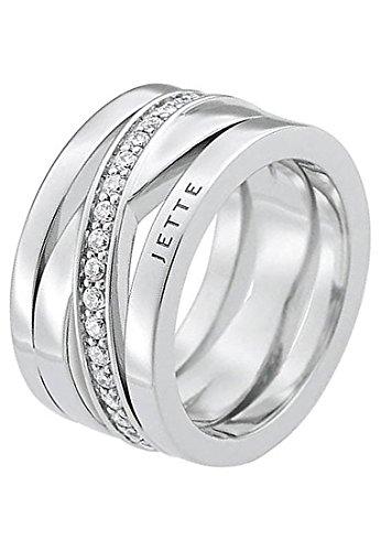 JETTE Silver Damen-Ring Wrapping 925er Silber rhodiniert 40 Zirkonia silber, 63 (20.1)