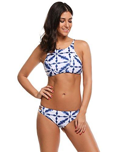 Ekouaer Damen Neckholder Bikini-Set Blau