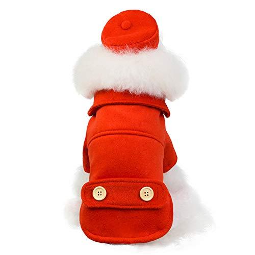 CHIRORO Haustier Bekleidung Flugbegleiterin Uniform mit Hut Hunde Katzen Jacke Sweatshirt Kostüm Baumwoll Welpen Mantel Jumpsuit Bekleidung - Kostüm Mit Rotem Mantel