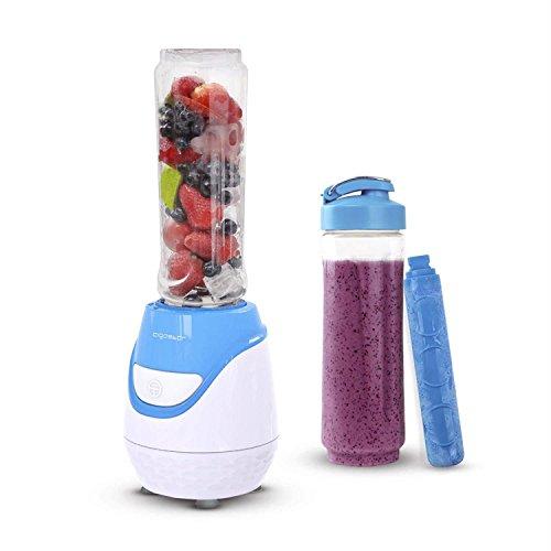 Aigostar Blueberry 30JDI - Batidora de vaso portátil, 600W, tubo refrigerante, incluye 2 vasos portátiles de Tritan de 600 ml y 2 tapas. Libre de BPA, color azul y blanco. Diseño exclusivo.
