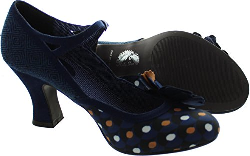 LADIES RUBY SHOO DEE NAVY SPOTS TWEED VEGAN VINTAGE INSPIRED RETRO SHOES-UK 8 (EU 41) - 3