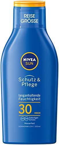 NIVEA SUN Schutz & Pflege Sonnenmilch im 2er Pack (2 x 100ml Reisegröße), feuchtigkeitsspendende Sonnenmilch mit LSF 30, wasserfeste Sonnenlotion
