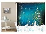 KnSam Duschvorhang Anti-Schimmel Wasserdicht Vorhänge an Badewanne Bad Vorhang für Badezimmer Schneeflocke Stern Merry Christmas 100% PEVA inkl. 12 Duschvorhangringen 90 x 180 cm
