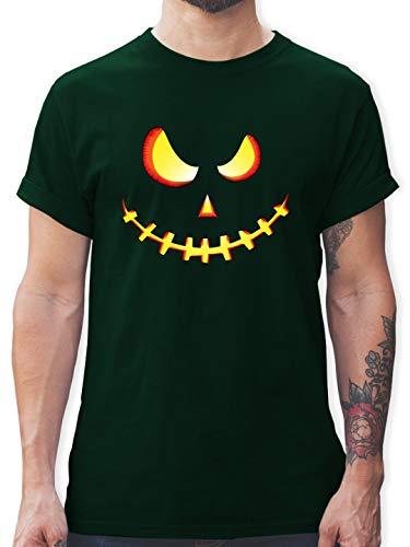 Halloween - Gruseliges Kürbis-Gesicht - XXL - Dunkelgrün - L190 - Herren T-Shirt und Männer Tshirt (Gesichter Halloween-kürbisse Für Schaurige)