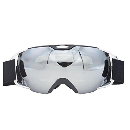 GoGou Ski/Snowboard Gogles Clear für Winter Schneesport mit Anti-Fog UV Schutz über Gläser Schutzbrillen für Männer, Frauen&Jugend (Silver)