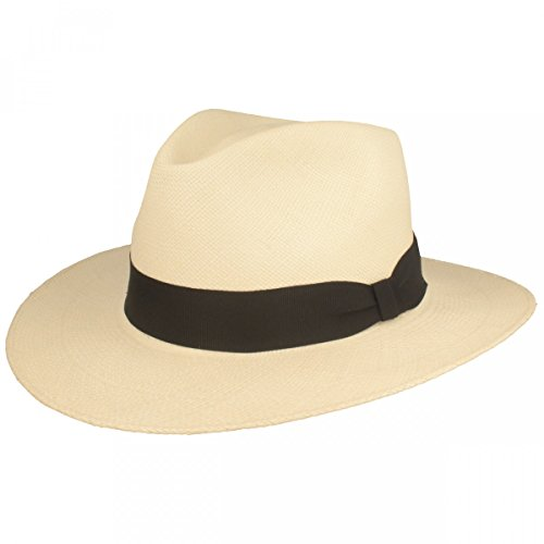 ORIGINAL Panama-Hut | Stroh-Hut | Sommer-Hut aus Ecuador - Traditionell Handgeflochten in Brisa 4 Flechtung, 7,5 cm breite Krempe & Bruchschutz -Weiß (Mode Für Herren Breite Krempe)