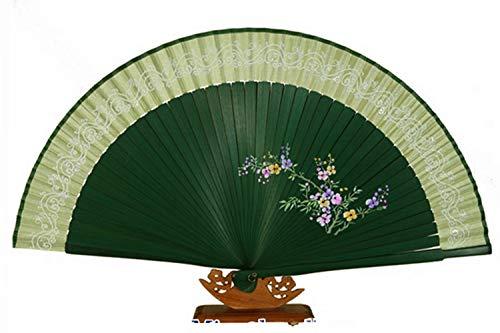Handfächer Fächer, Handfächer aus Seide und Schmetterling, Dunkelgrün, Bambus, Senf, Seide, handgefertigt, orientalische Geschenk. Glitzer rosa und Schmetterling. -
