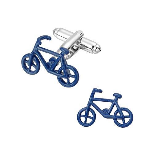 SWNSXK Blaue Fahrrad-Manschettenknopf-Männer, welche die Langen Hülsen-Hemd-Manschettenknöpfe der goldenen Männer für Hemd-Stulpennägel Wedding sind