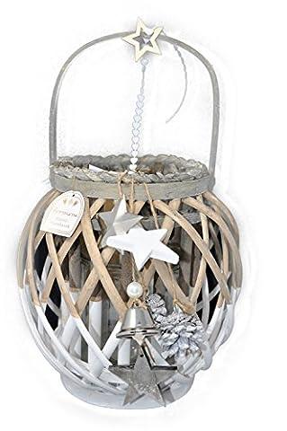 Formano Windlicht Rattan weiß grau, mit Deko Weihnachten