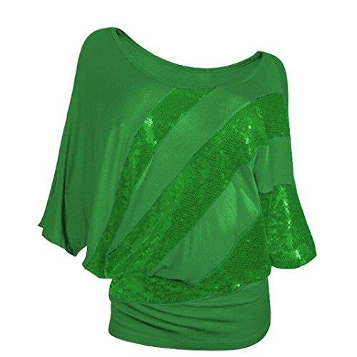 Pailletten Fledermaus Kurzarm T Shirt Frauen Causel Top Kalte Schulter Bluse Plus Größe (M, Grün) (Zitate über Halloween Und Familie)