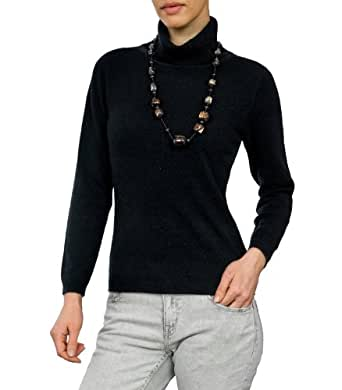 Wool Overs Womens Cashmere & Merino Slinky Polo Neck Jumper Black Small
