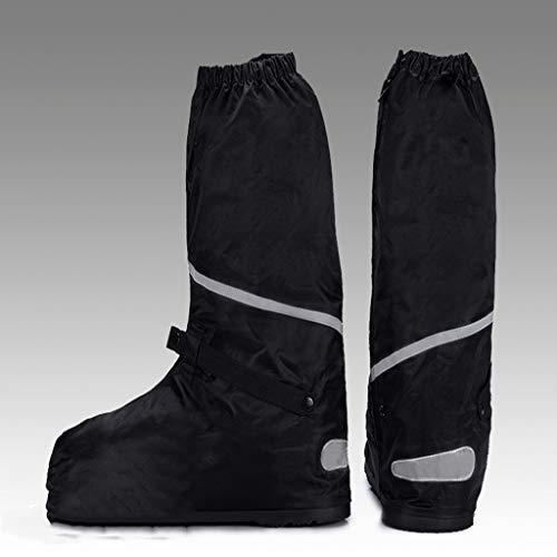 JERPOZ Regenstiefel Aus Oxford-Stoff, Hoch, Damit Der Gummiboden Auch Bei Kälte Und Starkem Regen Und Wind Abriebfest Bleibt Rain Boots (Color : Black, Size : XXXL) - Wind Shoe Cover