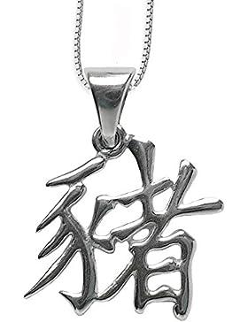 Chinesisches Sternzeichen Schwein Anhänger Amulett aus 925er Silber mit Kette Halskette Silberkette 12