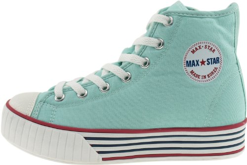 Maxstar  C30-7H, Chaussons montants femme Turquoise - Vert menthe
