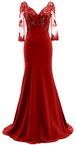 MACloth 3/4 Sleeves Illusion V Neck Mother of the Bride Dress Lace Evening Gown red