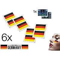6x Tattoo Set Deutschland Flagge Fahne WM Fanartikel Fußball Fanartikel Schminke Makeup Fantattoo zur Fußball Weltmeisterschaft 2018 in Russland + 1x Plakat Übersicht aller Stadien DIN A3