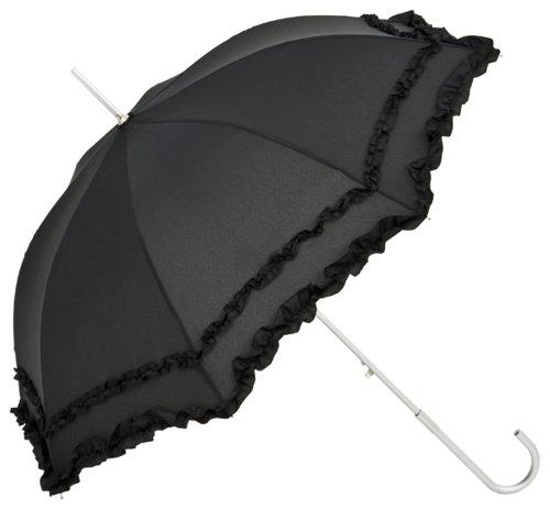 schirm Damen Mode Sonnenschirm Brautschirm Hochzeitsschirm Mary-Poppins-Schirm Automatik Mary schwarz mit Rüschen ()