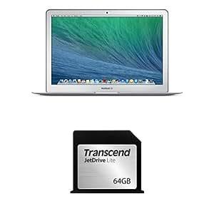 Pack Apple MacBook Air 13 Pouces Argent (2015) (Intel Core i5, 4 Go de RAM, SSD 256 Go, Intel Iris Graphics 6000, Mac OS Yosemite) + Carte Mémoire 64 Go Transcend Compatible