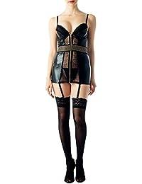 iB-iP Women s Lace Faux Leather Zipper Bralette Punk Sheer Mini Chemise  Lingerie 6da9b644f