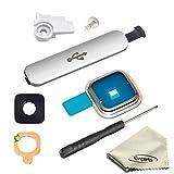 EWPARTS tapa usb para SAMSUNG GALAXY S5 G900 G900F Volver cubierta de lente de la cámara Anillo + Cámara marco Holder + Adhesivo + polvo del USB Plug + Herramientas de apertura (Plata)