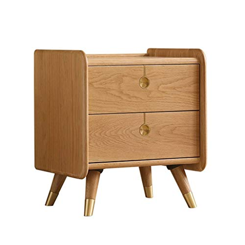 Eiche Runde Bücherregal Schrank (BJYG Nachttisch Einfache Moderne Schlafzimmer Nachttisch Massivholz Nordic Eiche Kleinen Schrank Kleinen Tisch Kleinen Lagerschrank 45 * 38,5 * 52 cm)