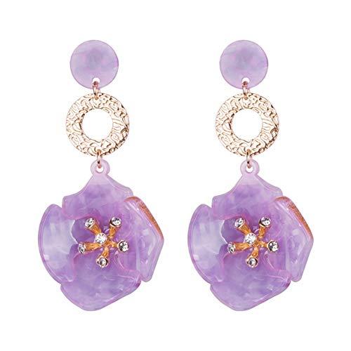 Cjmdeh orecchini orecchini trendy acrilico grandi orecchini a pendente per le donne di cristallo resina penzolanti orecchini bigiotteria fiori lunghi orecchini viola