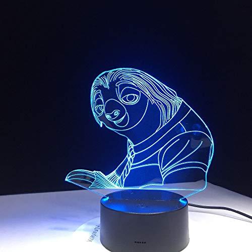 wangZJ 3d Illusion Lampe / 7 Farbwechsel Touch Nachtlicht / 3d Led Lampe/Idee Weihnachtsgeschenk/Stimmung Lampe/Kinder Geschenke /Cartoon Faultier