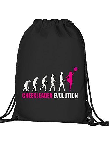 Golebros Cheerleader Evolution 595 Sport Football Turnbeutel mit verstärkten Ecken und Metallösen Schwarz Aufdruck Pink