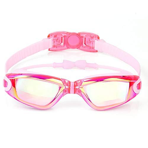 YYXYYX Kinder, Die Schutzbrillen Schwimmen, GroßEr Rahmen üBerzog Hd Anti-Fog-Schwimmen-GläSer,Pink