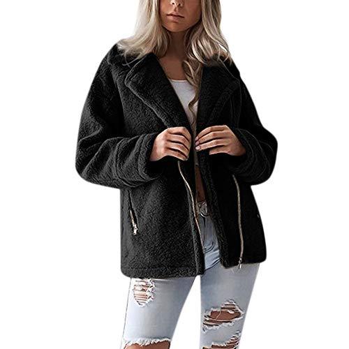 (i-uend 2019 Damen Mantel,Herbst Winter Langarm Mantel Warmer Lange Mantel Weste Windjacke Kapuzenpullover Reißverschluss Mantel Baumwolle Mantel Outwea)