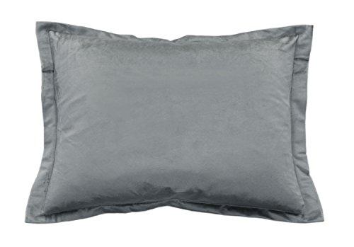 Samt-haut-creme (Haus und Deko Samt weicher Kissenbezug 30x50 cm mit 2 cm Steg Zierkissen Plüsch-Kissen Deko Kissenhülle Uni Grau)