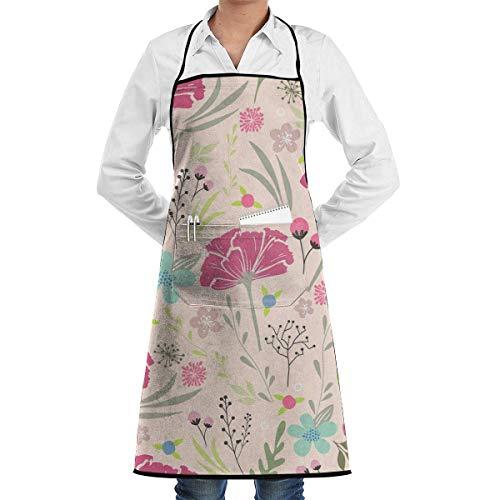 VAICR Kochschürze Küchenschürze,Blossom Dahlia Adjustable Half Body Pocket Apron Bib Apron for Unisex Chef's Gifts Kitchen Decor Restaurant Apron,Extra Long Ties Women Men BBQ Baking Cooking Bb Blossom