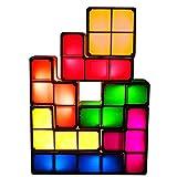 Kreative Kinder Nachtlicht 3D Puzzles Spielzeug 7 STÜCKE Tetris Stapelbar Induktions Verriegelung DIY Schreibtisch Tischlampe 7 Farben Magische Blöcke Hause Geburtstagsgeschenk