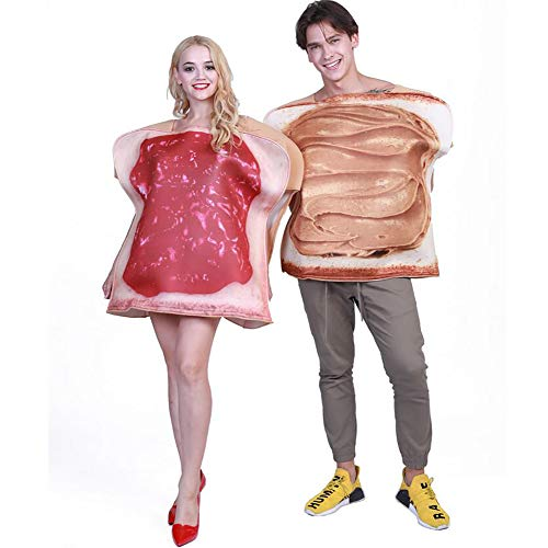 SHANGLY Sandwich Kostüm Cosplay Erwachsenes Paar Toast lustiges Essen Overall Halloween-Karnevals-Party,COUPLESET