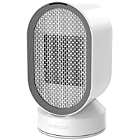 dodocool Mini Electric Fan Heater Space Air Cooler with Automatic Oscillation and Cold & Heat Settings,Quiet Portable Ceramic Heater Cooler Fan with Safety Protection,600w,Energy Saving