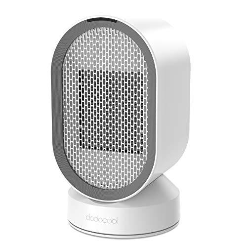 dodocool Mini Calefactor Eléctrico, Portatil Ventilador Calefactor Estufa de PTC Cerámica, Calefactor Aire Frio y Caliente Oscilación Automática, Conveniente para el Dormitorio, la Sala de Estar y la Oficina