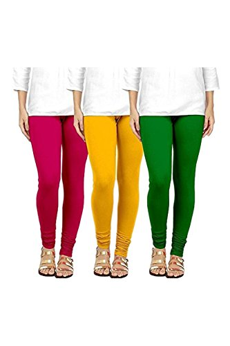 Swastik Stuffs Soft & Stretchable Cotton Lycra Churidar Free Size Leggings Combo Offer for Women (SSLPYG3_Pink,Yellow,Green_Free Size)(Pack of 3)